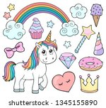 unicorn and objects theme image ...   Shutterstock .eps vector #1345155890