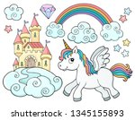 unicorn and objects theme image ...   Shutterstock .eps vector #1345155893
