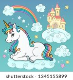 unicorn and objects theme image ...   Shutterstock .eps vector #1345155899