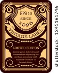 frame border vintage label or... | Shutterstock .eps vector #1345161746