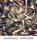 old silver forks bright... | Shutterstock . vector #134516288
