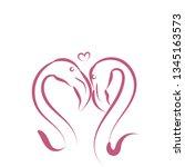 cartoon sketch animal flamingo... | Shutterstock .eps vector #1345163573