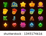 big set gaming icons of card... | Shutterstock . vector #1345174616