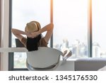 work and travel lifestyle... | Shutterstock . vector #1345176530