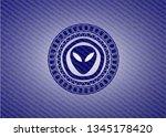 alien icon with denim texture | Shutterstock .eps vector #1345178420