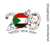 happy new 2019 year with flag... | Shutterstock . vector #1345184516