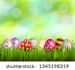 colorful painted easter eggs on ... | Shutterstock .eps vector #1345198319