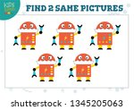 find two same pictures kids... | Shutterstock .eps vector #1345205063