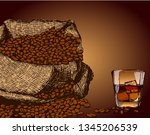 bag with coffee beans freehand... | Shutterstock .eps vector #1345206539