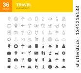 travel line web glyph icons.... | Shutterstock .eps vector #1345216133