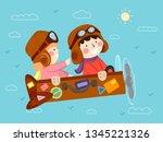 illustration of kids riding a... | Shutterstock .eps vector #1345221326