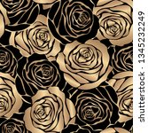 gold roses on a black background   Shutterstock .eps vector #1345232249