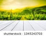 desk of free space and spring... | Shutterstock . vector #1345243703