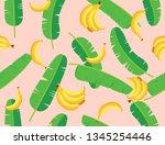 seamless pattern of banana...   Shutterstock .eps vector #1345254446