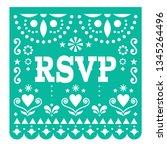 rsvp  respond please papel... | Shutterstock .eps vector #1345264496