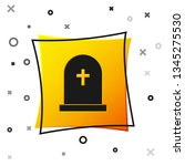 black tombstone with cross icon ... | Shutterstock .eps vector #1345275530