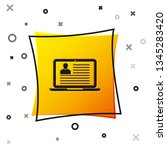 black laptop with resume icon...   Shutterstock .eps vector #1345283420