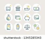 banking and finance line icons... | Shutterstock .eps vector #1345285343