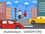 Family  Crossing Road On...
