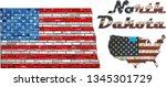 Usa State Of North Dakota On A...