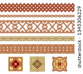 set of seamless borders and... | Shutterstock .eps vector #1345306229