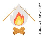 campfire. bonfire with... | Shutterstock .eps vector #1345318469