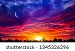 Crescent Moon With Beautiful...