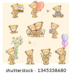 collection of cute cartoon... | Shutterstock .eps vector #1345338680