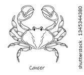 zodiac sign  cancer symbol...   Shutterstock .eps vector #1345344380