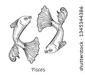 zodiac sign  pisces symbol...   Shutterstock .eps vector #1345344386