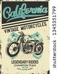 vintage motorcycle placard with ... | Shutterstock .eps vector #1345351799