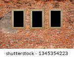 old wooden frame on the grunge... | Shutterstock . vector #1345354223