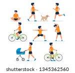 happy man doing different... | Shutterstock .eps vector #1345362560
