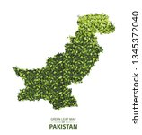 pakistan map made up of green... | Shutterstock .eps vector #1345372040