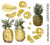 color collection  of pineapple. ...   Shutterstock .eps vector #1345374530