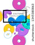 abstract funky colorful... | Shutterstock .eps vector #1345380863