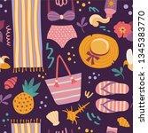 summer pattern. vector seamless ...   Shutterstock .eps vector #1345383770