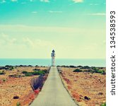 View of beacon Far de Barbaria in Formentera, Balearic Islands, Spain, with a retro effect
