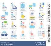 disability icons including... | Shutterstock .eps vector #1345387820