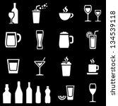white beverages icons on black... | Shutterstock .eps vector #134539118