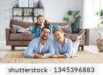 happy family mother father and... | Shutterstock . vector #1345396883