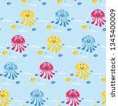 cute sea vector animals of the... | Shutterstock .eps vector #1345400009