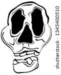 wobbly abstract skull face... | Shutterstock .eps vector #1345400510