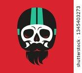 illustration skull in moto... | Shutterstock .eps vector #1345403273
