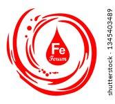 mineral ferrum. fe iron formula ... | Shutterstock . vector #1345403489