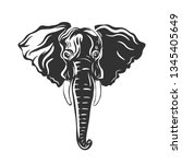 elephant isolated in white.... | Shutterstock .eps vector #1345405649