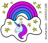 unicorn with rainbow  close and ... | Shutterstock .eps vector #1345412180