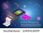 isometric modern credit card... | Shutterstock .eps vector #1345413059