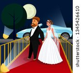groom and bride at vip event... | Shutterstock .eps vector #1345426610
