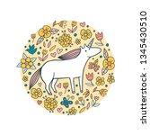 cute doodle unicorn in a flower ... | Shutterstock .eps vector #1345430510